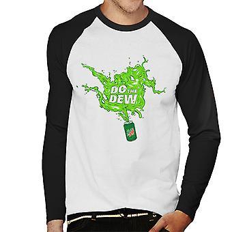 Mountain Dew tee Dew Spilt kaikkialla miesten ' s baseball pitkähihainen T-paita