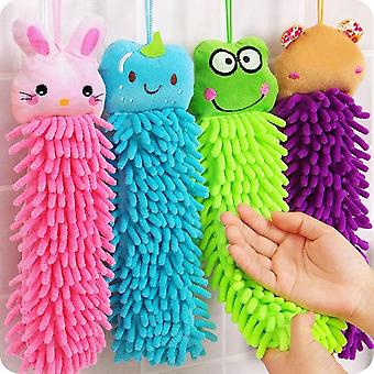 Kitchen Cute Animal Chenille Hand Face Wipe Hanging Towels - Baby Kids Animal Bathroom Washcloths
