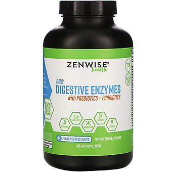 Zenwise Health, Enzymes digestives quotidiennes avec prébiotiques + Probiotiques, 180 Vegeta