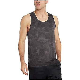 Essentials Men's Tech Stretch Performance Tank Top Shirt, Charcoal Cam...
