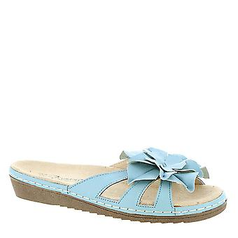 Beacon Womens Leather Open Toe Casual Slide Sandals