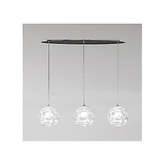 Mantra 5145 Organica Pendant 3 Light E27 Line, Gloss White/polished Chrome