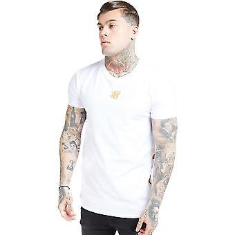 Sik Seide Reverse Kragen T-Shirt - weiß & Floral Eleganz