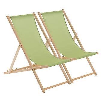 Traditional Adjustable Wooden Beach Garden Deck Chair - Lime Green - Pack of 2