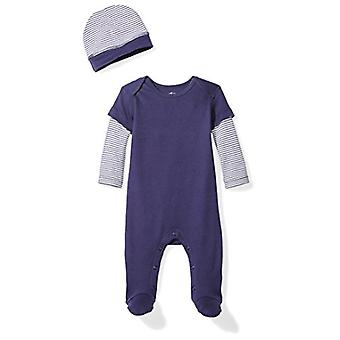 Moon and Back Girls' Organic Double-Sleeve One-Piece Coveralls with Cap Set