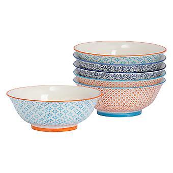 Nicola Spring 6 Piece Hand-Printed Ramen Noodle Bowl Set - 3 Colours - 21.5cm
