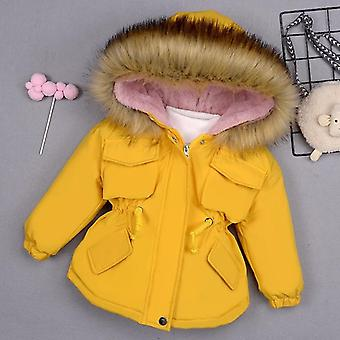 Baby Girl Denim Jacket- Winter Girl's Cotton Padded Clothes Baby's Thickened Cotton Padded Coat