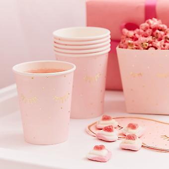 ピンクパンパーパーティー紙ゴールド箔付きスリーピーアイズカップx 8