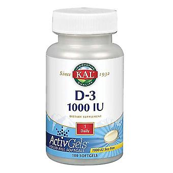 Kal D-3, 1 000 UI, 100 Softgels