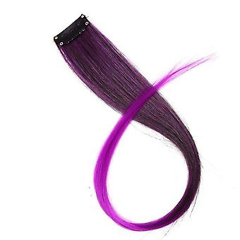 Fake Hair Pieces Clip En 2 Tone Hair - Pure Color Straight Long Synthetic Hair
