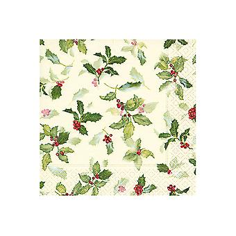 Paper & Design Napkins x20 Classic Holly PD600099