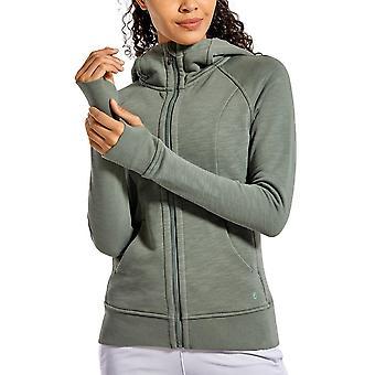 Women's Cotton Hoodies, Sport Workout Met Full Zip, Thumb Holes Sweatshirt