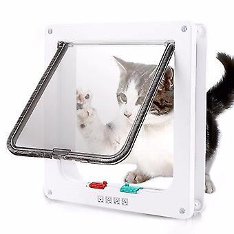 Πόρτα flap γατών σκυλιών με την πόρτα πτερυγίων κλειδαριών ασφάλειας 4 ιάθμων για τις γάτες σκυλιών γατάκια γατών πλαστικά μικρά μικρά pet πόρτα gate kit γάτες σκυλιά flap πόρτες