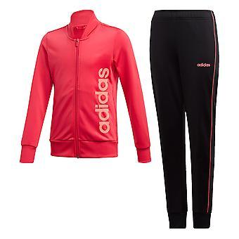 adidas Linear Essential Kids Girls Full Zip Tracksuit Suit Set Pink/Black