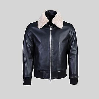 Karakul mens pilot leather jacket faux fur collar