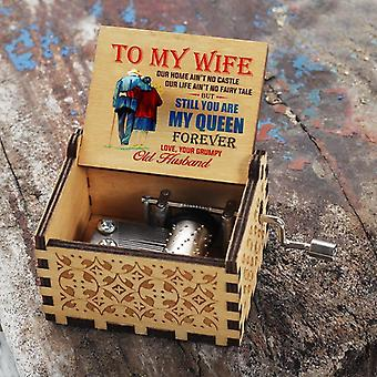 Engraved Wooden Hand Crank Music Box Perfect