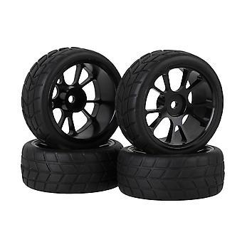 4Set Black Plastic 10-spoke wheel Rim&Square Pattern Tyre for RC1:10 On-Road Car 4Set Black Plastové 10-lúčový kotúč Ráfik & námestie vzor pneumatiky pre RC1:10 On-Road Car