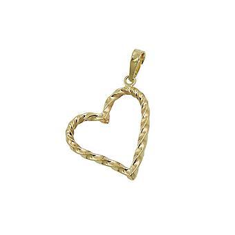 Corazón colgante retorcido 9k oro