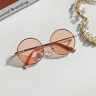 Módní retro sluneční brýle barevné zrcadlo kovový rám děti roztomilý jednoduchý venkovní