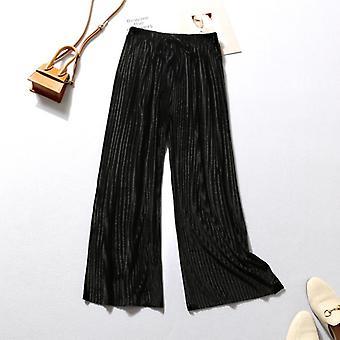 Summer Wide Leg Women Casual Elastic High Waist Pant Trousers