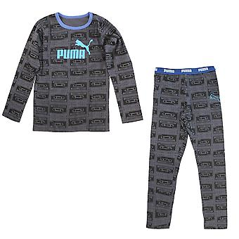 Puma Boys T-Shirt Tee Top Bottoms Pack Pyjamas PJs Set Grey 893532 07 A2B
