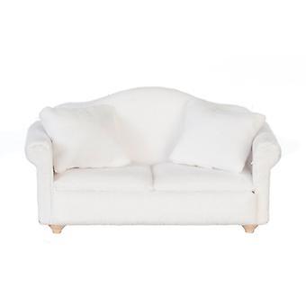 Dolls House White Velour 2 Seater Sofa Loveseat Miniature Living Room Furniture