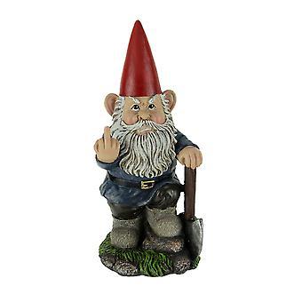 Naughty Garden Gnome with Axe Flipping Bird Statue