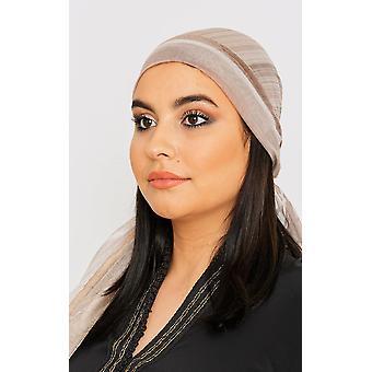 Kvinnor & apos; s lätta satin huvud halsduk i taupe färg tryck
