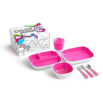 Munchkin colour me hungry dinning set pink 7pc