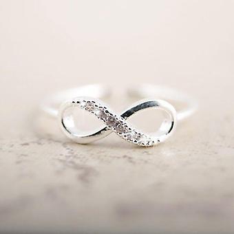 Rhinestone Gümüş Sonsuzluk Yüzüğü