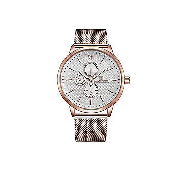 Naviforce Mens Homage Quartz Watch White Rose Gold Smart Watches Date Designer Gift