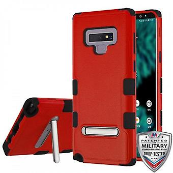 MYBAT TUFF HYBRID PROTECTOR CASE FOR GALAXY NOTE 9 W/ MAGNETIC METAL STAND-NATURAL RED/BLACK