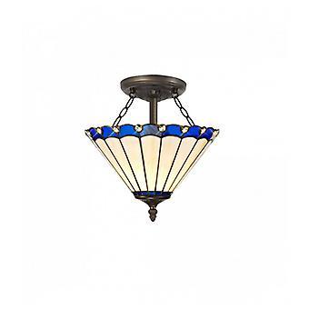 Lémpara De Techo Tiffany Calais 2 Bombillas Azul 25 Cm