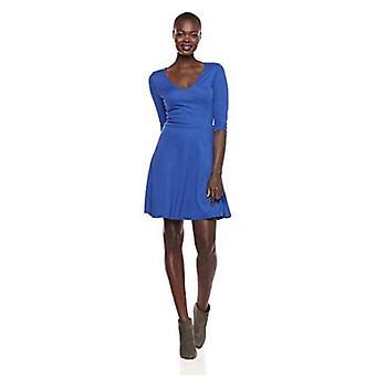 Lærke & Ro Kvinder's Three Quarter Sleeve V-Neck Fit og Flare Dress, Bordeaux, Large