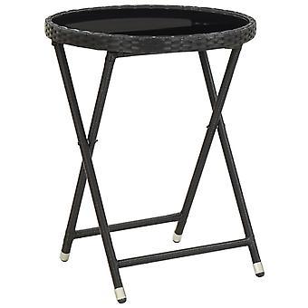 Tavolo da tè nero 60 cm poli rattan e vetro temperato