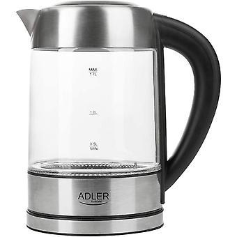 Wokex AD 1247 Wasserkocher aus Edelstahl und Glas, 1,7L, 2200 W, digitaler Glaswasserkocher mit