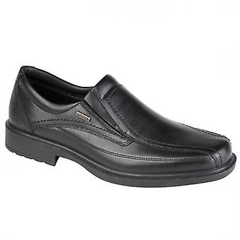 IMAC Danny Mens Leather Slip On Loafers Black