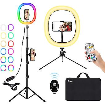 Ringlicht mit Stativ, 12 Zoll RGB LED Selfie Ringleuchte mit