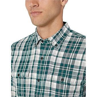 Essentials Men's Regular-Fit Long-Sleeve Twill Shirt, Green Heather Plaid, X-Large