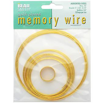 The Beadsmith Assorted Memory Wire Variety Pack - Gold Plated - 10 Loops Per Size