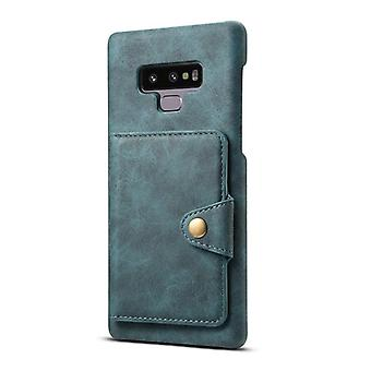 Wallet leather case card slot for samsung s9plus blue no4489