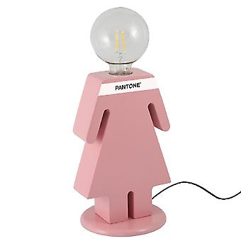 PANTONE Bordslampa Eva Färg Rosa, Vit, Svart, Trä L15xP16xA26 cm