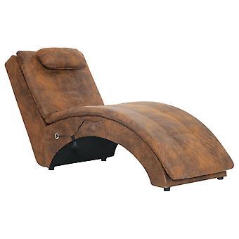 vidaXL massage chaise longue avec coussins Braun En Daignoir