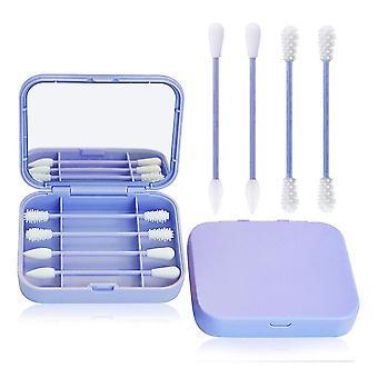 Fioletowy 4szt / pudełko wielokrotnego użycia wacik ucha czyszczenia kosmetycznych silikonowych pąków waciki kije z lustrem do makijażu cai979