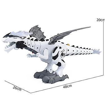 Kävelevä dinosaurus robotti lelu lapsille sumusumu dinosaurus lelu tuli hengitysvesi (VALKOINEN)