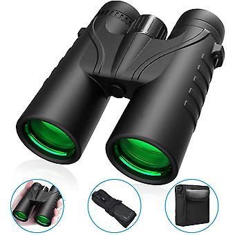 Potężna lornetka dla dorosłych, lornetka 12x42, kompaktowa lornetka HD z pryzmatem BAK4, soczewka FMC, przeciwmgielna i wodoodporna, idealna do obserwacji ptaków, strzelania, polowania(czarny)