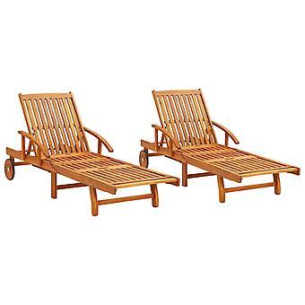 lettini vidaXL 2 pezzi di acacia in legno massello