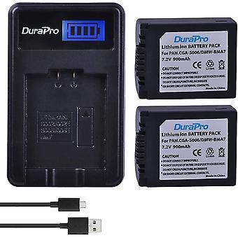 2Pcs CGA-S006E CGR-S006 Battery + LCD USB Charger for Panasonic Lumix