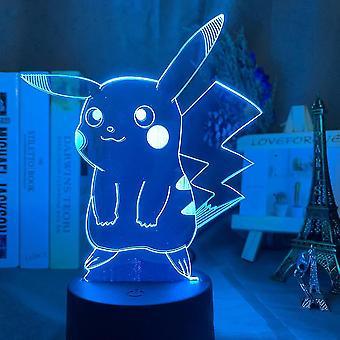 Pikachu 3d Led Night Light Kids Soveværelse Bordlampe Farverige