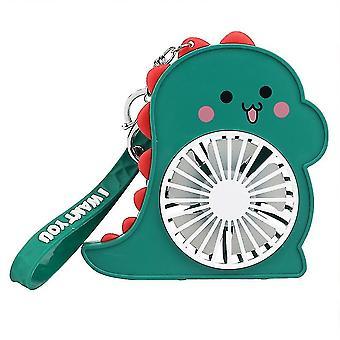 Cartoon Dinosaur Fan Holding Small Fan Keychain Outdoor Children Keychain Fan Cute Gift(Green)
